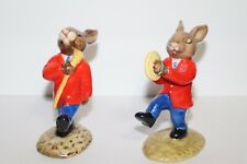Set of 2 Royal Doulton Bunnykins Oompah Band Figurines (Drum Major and Cymbals)