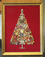 Vintage Framed RHINESTONE & other Jewelry Christmas Tree wall hanging