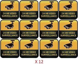 CCTV Camera Warning Stickers, Surveillance Vinyl Decal, Video Security Sign X12