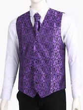 Men's Paisley Waistcoat Vest and Cravat Pocket Square Set For Suit UK Christmas