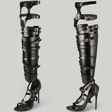 Auth Tom Ford Gladiator Sandals Over-The-Knee Bandage Strappy Black RARE 37.5
