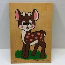 Vtg Simplex Wood Puzzle Deer Holland 3003 Brown Hollland Toddler 5 Puzzle Piece