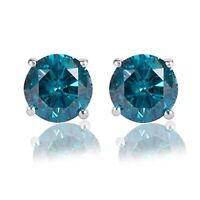 Valentine Special 2.00CT Round Blue Diamond 14K White Gold Over Stud Earrings