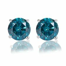 3.00CT Round Blue Diamond 14K White Gold Over Stud Earrings Cyber Monday