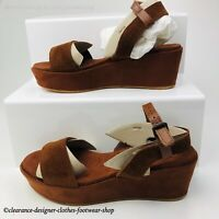 LEVIS TOPAZ WEDGE SANDALS WOMENS ANKLE STRAP BROWN SUEDE ITALIAN SHOE RRP £100