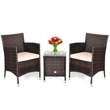 Outdoor 3 PCS PE Rattan Wicker Furniture Sets Chairs  Coffee Table Garden Beige