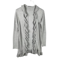 Magaschoni Ruffled Cardigan Sweater Size S Gray Long Sleeve Cotton Cashmere Knit