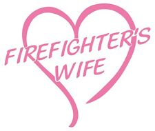 Firefighter's Wife Non-Reflective Large Pink Open Heart Decal Sticker