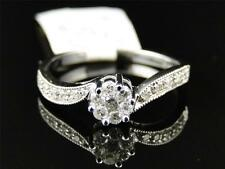 Ladies 10K White Gold Round Diamond Cluster Engagement Wedding Band Ring 1/4 Ct