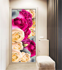 3D Rose Flowers Self-adhesive Bedroom Door Sticker Removable Wall Stickers Decor