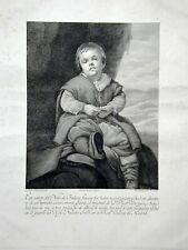 RARE 1792 LARGE SPANISH ENGRAVING OF A VELAZQUEZ DWARF FOR MUSEUMS AND ROYALTY