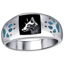 Mens Wedding Ring Silver Inlay Wolf with Paw and Claw NEW*