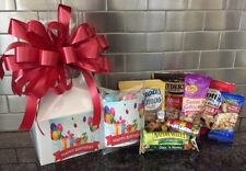 Happy Birthday Gift Box-Basket Wrapped With Red Bow-Card-Snacks-Candy