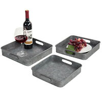 MyGift Rustic Galvanized Silver Metal Square Nesting Serving Trays, Set of 3