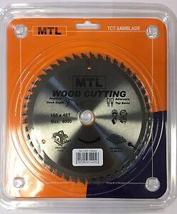 165mm x 48T x 20mm MTL brand TCT Circular Saw Blade 4 Dewalt Makita Plunge Saws