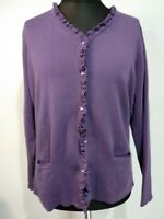 Castle Of Ireland Purple Cardigan Ladies Size 20 Jewel buttons Pockets New Wool