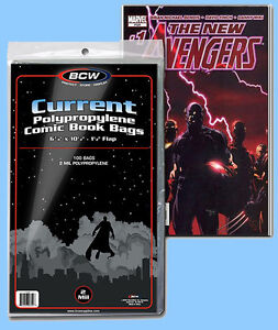 BCW: Comic Bags: CURRENT or CUR-THICK Size:  100ct (1 pack) *FREE SHIPPING