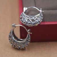 New Solid 925 Sterling Silver Hoop Earrings Twirl-Shape Earrings 20mm H