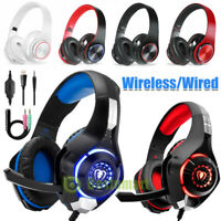 Pro Gaming Headset LED For PS4 XBOX One Wireless/Wired Headphone Microphone Beat
