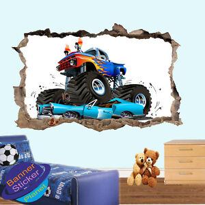 MONSTER TRUCK CRASH CARS WALL STICKER 3D ART POSTER MURAL DECAL KIDS DECOR XU4
