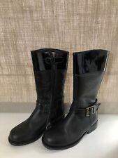 Girls Armani Junior Jr Black Leather Shearling Real Fur Lined Boots EU26/UK8.5