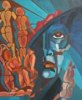 ABSTRACT PORTRAIT AVANT GARDE NUDE FIGURES OIL PAINTING SIGNED