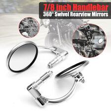 """2X Universal 7/8"""" Motorrad Retro Lenkerendenspiegel Rückspiegel Lenkerspiegel #"""