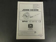 John Deere BP40 Back Pack Blower Operator's Manual  UT 08112
