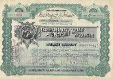 Federal Real & Valle Agradable Pasajero Ferrocarril De Company Certificado 1898
