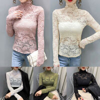 Women's All Over Sheer Lace Long Sleeve T-shirts Tops Stretch Solid Mock Neck