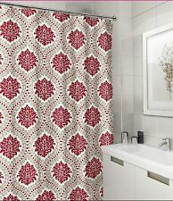 New ListingElegant Fabric Shower Curtain: Red Taupe White Floral Damask Design Nwop