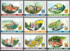 San Marino 1997 Villages/Churches/Clock Tower/Bell/Belfry/Buildings 9v (n43472)