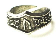 URUZ Viking Dragon Head Rune Ring ,Strength wisdom, Initial 'U V'. Adjustable