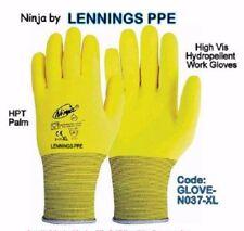 NINJA Hi-Vis Nylon Hydropellent Work Gloves Super Grip Palm Coating, Size XL