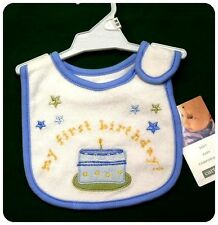 New/NWT~CARTERS~BABY BOY~MY 1st FIRST BIRTHDAY BIB w/cake & candle~Blue + White