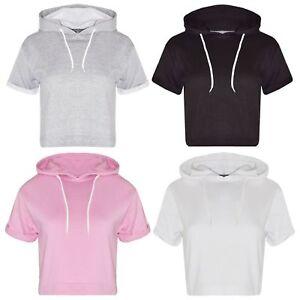 New Ladies Crop Hoodie Women Pull Over Plain Short Sleeve Hooded Sweat Shirt Top