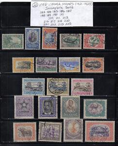 20 NICE OLDER USED LIBERIA POSTAGE STAMPS 1921 - 1923