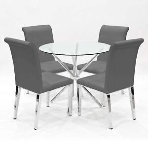Criss Cross Round Dining Table 90cm PLUS 4 X Kirkland GREY Dining Chairs