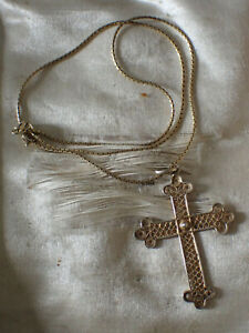 Beau Collier Chaine et Croix  en Argent Vermeil  Ancien