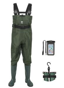 TIDEWE Bootfoot Chest Wader, 2-Ply Nylon/PVC Waterproof Fishing & Hunting Waders
