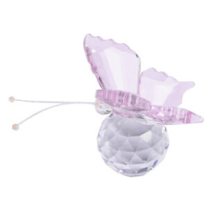 Crystal Butterfly Paperweight Glass Wedding Decoration Ornament Collectible~