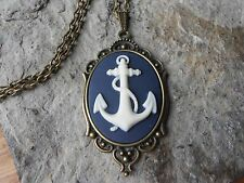 ANCHOR CAMEO NECKLACE, SET IN BRONZE, MATCHING CHAIN, NAVY, VACATION, NAVY WIFE