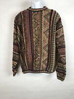TUNDRA CANADA mens XL Sweater Cotton Multi-Color Texture Coogi Style Biggie