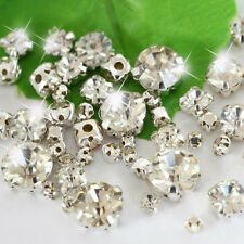 300pcs Mix size Crystal Rhinestone Glass Bead Settings silver Claws Sew On Cloth