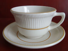 7 Shenango China Tea Cup Saucer Set Off White Ribbed Yellow Band Restaurant Ware