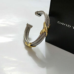 The real David Yurman double cable 10mm sterling silver bracelet, 14K gold inlay
