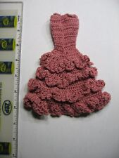 BARBIE CUSTOM DRESS HAND CROCHET HAND MADE BEAUTIFUL DARK PINK COLOR MADE IN USA