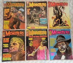 6 VINTAGE ISSUES FAMOUS MONSTERS Of FILMLAND Magazines 1974 WARREN  Horror