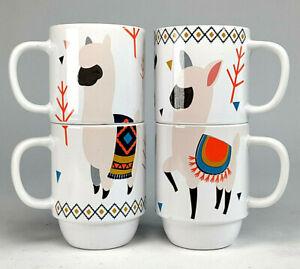 Boston Warehouse Llama Coffee Mug Stackable Set Of 4 CUTE! euc