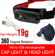 USB Rechargeable LED Headlamps 360 Degree Rotaed Lamp Light Both Head/Hat Lights
